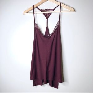 UO Out from Under Maroon Ribbed Lace Racerback Top